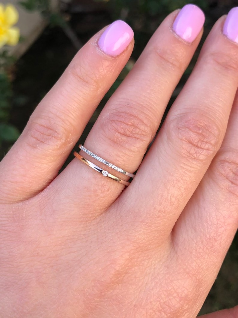 2ef7874cc173b Two tone rose and white gold double row diamond band. Stackable ring.  Anniversary gift.