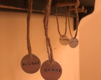 Set of 4 - Stamped Metal Tags