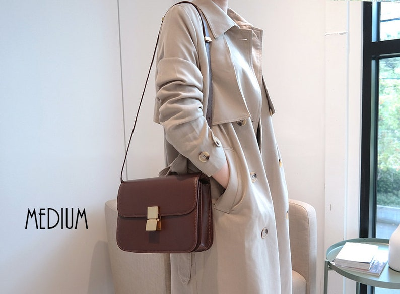 fd92e9da7f2 Smooth Leather Crossbody Bag Calfskin Leather Purse Leather | Etsy