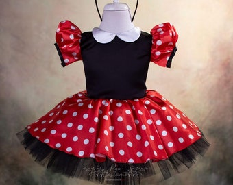 Minnie Mouse Birthday outfit for kids. Minnie Mouse Inspired Costume. Baby First Birthday Dress.