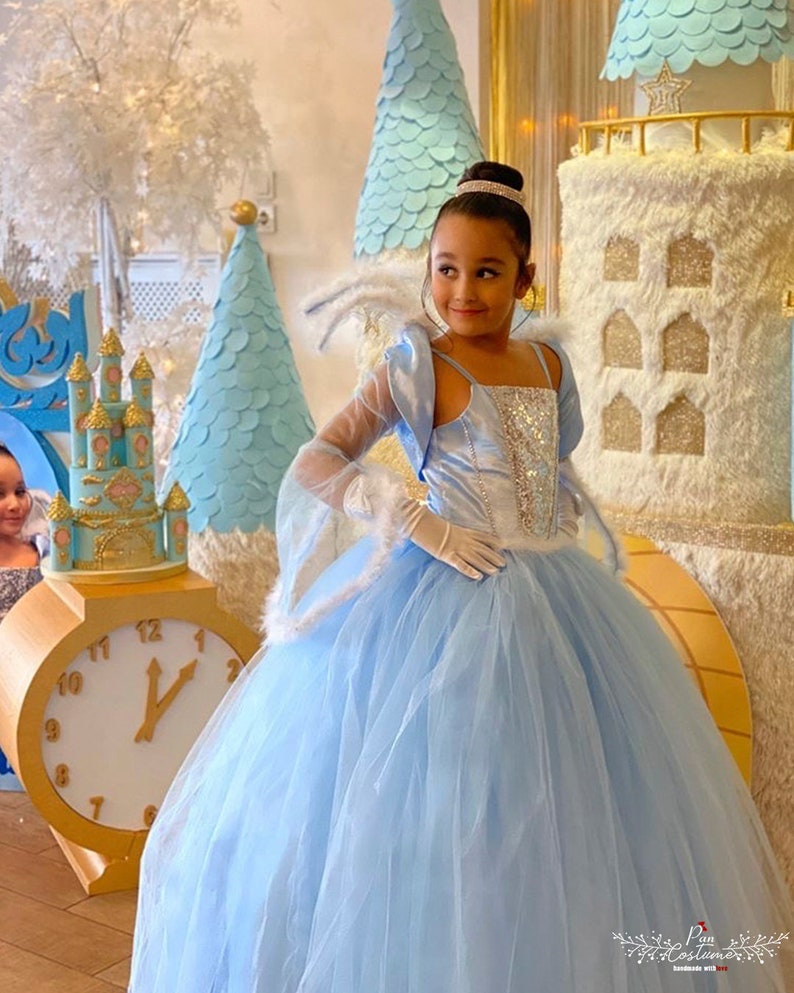 Ice Queen Party Gown The Snow Queen Costume for Girls Ice Blue Fluffy Tutu Dress