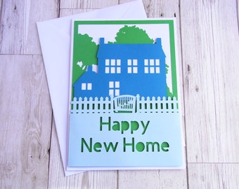 Papercut New Home card: greetings card, large card, A5, handmade, moving, house, home, papercut, housewarming, collage,