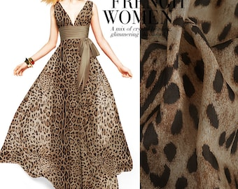 Brown 100% Pure Silk Chiffon Fabric With Leopard Print Fabric By the Yard  or Meters c262f8c28