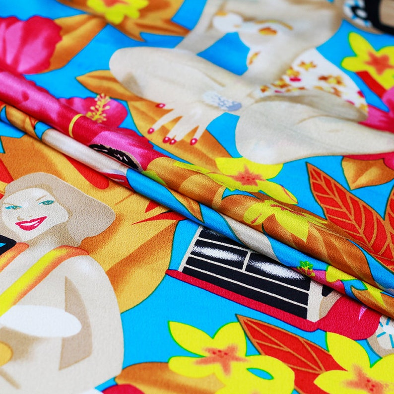 Colorful 100/% Silk Crepe de Chine Fabric Apparel Sewing With Fashion Girl Print Fabric width 42 inch