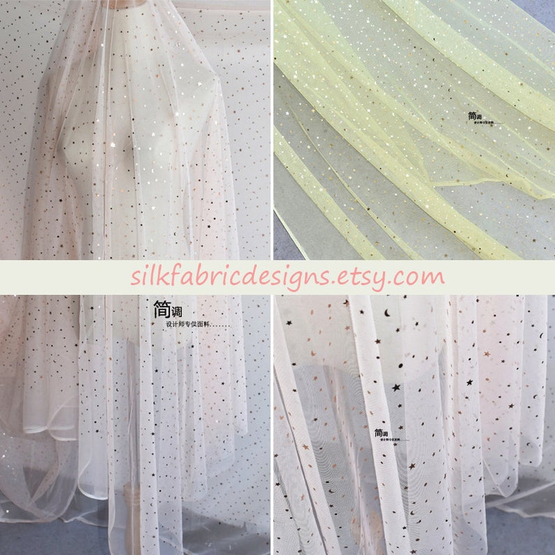 2 Color light Pink and Yellow Geometric Stars Sequin Lace Fabric Tulle Fabric By the Yard Or Meter