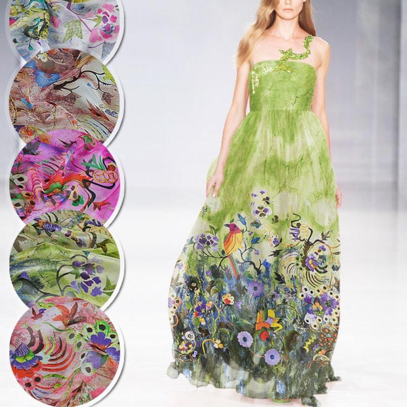 Floral Birds Print Green 100/% Pure Silk Chiffon Fabric By the Yard Width 53 Inch