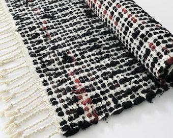 Handwoven rag rug, recycled denim and linen yarn