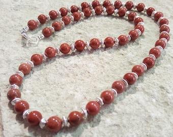Red jasper chain 6 mm sponed Lengths selectable #002