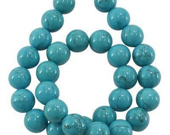 Turquoise strand (synthetic) 12 mm, 38-40 cm