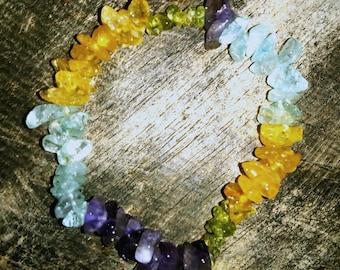 Healing crystal gemstone bracelet -Amethyst, Blue Topaz, Citrine & Peridot  - Reiki energy and full moon charged