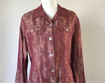 Vintage Chicos Silk Floral Blouse - Women's size Medium
