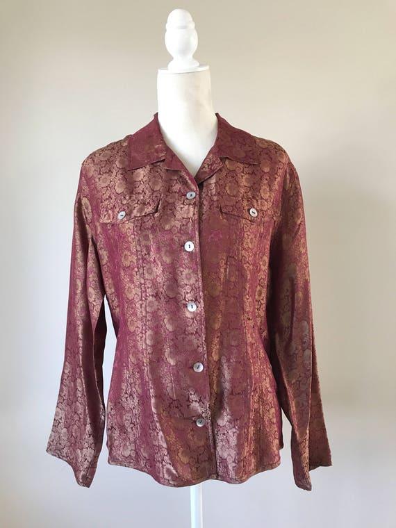 f19f6a48a24fe Vintage Chicos Silk Floral Blouse Women s size Medium