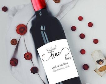 Wine Label We Found True Love, Navy Blue Wedding Wine Printable, Custom Wine Labels, Templates, PDF Instant Download, Digital File #FA202-20