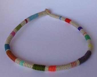 Crocheted necklace, Crochet bracelets, Crocheted jewelry, Boho, Tubular crochet necklaces, Textile jewelry, Ethnic jewelry, Wrap bracelets