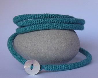 Crocheted necklace bracelet, Crocheted jewelry, Boho, Tubular crochet necklaces, Textile jewelry, Ethnic jewelry, Wrap bracelets, Natural