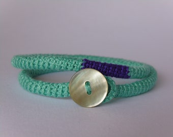 Wrap crocheted bracelet, Friendship bracelets, Summer bracelet, Crochet jewelry, Colourful bracelets, Textile bracelets, Colourful, Button