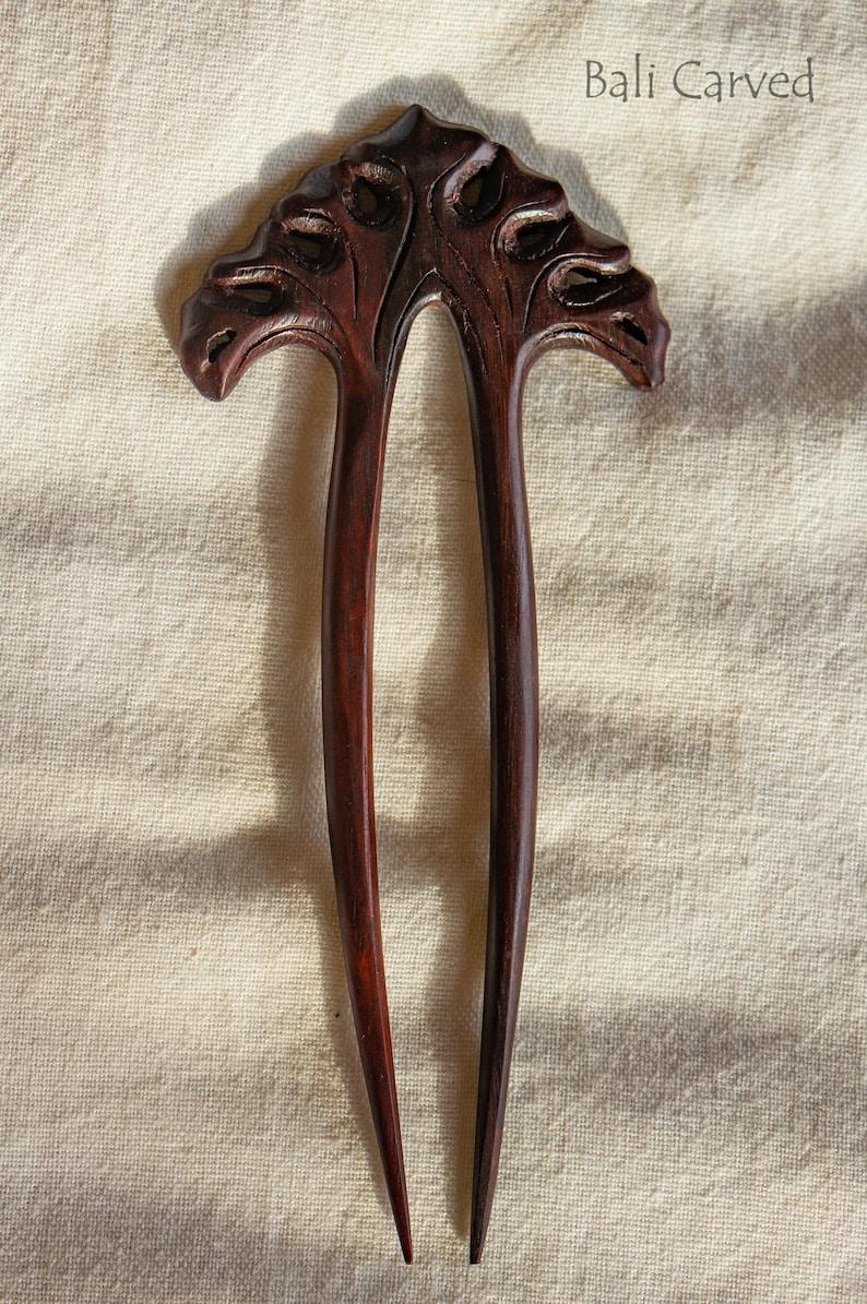 Hair pin for hair stylist gift Japanese hair stick Viking hair jewelry Viking wedding flower hair fork of exotic wood