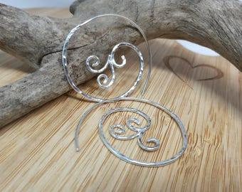 Sterling silver filigree hammered spiral hoops