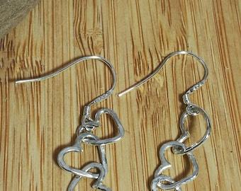 Happy little heart sterling silver dangling earrings