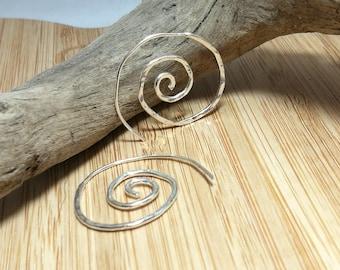 Sterling silver line hammered spiral hoops