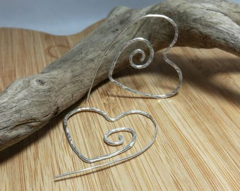 Large sterling silver heart spiral hoops