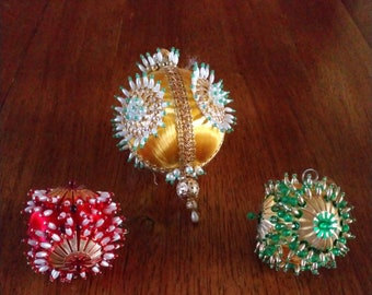 f09fc4341e59 Set of Three Vintage Handmade Christmas Ornaments Featuring Red, Green and  Gold Color Sequined and Beaded Orb