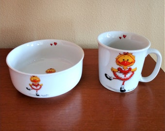 Mid Century Suzy's Zoo Child's Cup and Bowl - By Suzy Spafford - Suzy Ducken