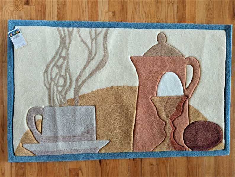 Coffee Themed Kitchen Rug by Regal Design Studios - Design By Linnea  Asplind Riley - Hand Tufted and Carved 29\