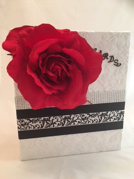 White Red And Black Themed Wedding Card Box Etsy