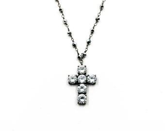 Midi white cross necklace