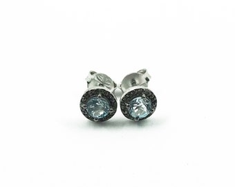 Aquamarine earrings with pave diamonds in sterling silver