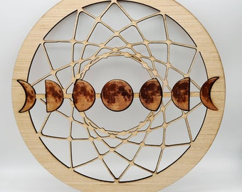 Moon Phase Wooden Cut out / for Macramé Supplies or wall hanging / Carved wood Art / Celestial Lunar home décor  / Boho / Free Shipping