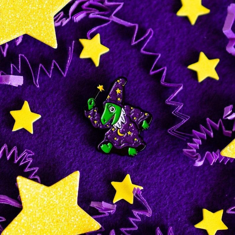 Lizard Wizard Glitter Enamel Pin image 0
