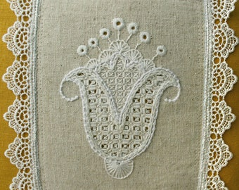 """Floral Folk Style Embroidered Pillow 11x11"""""""