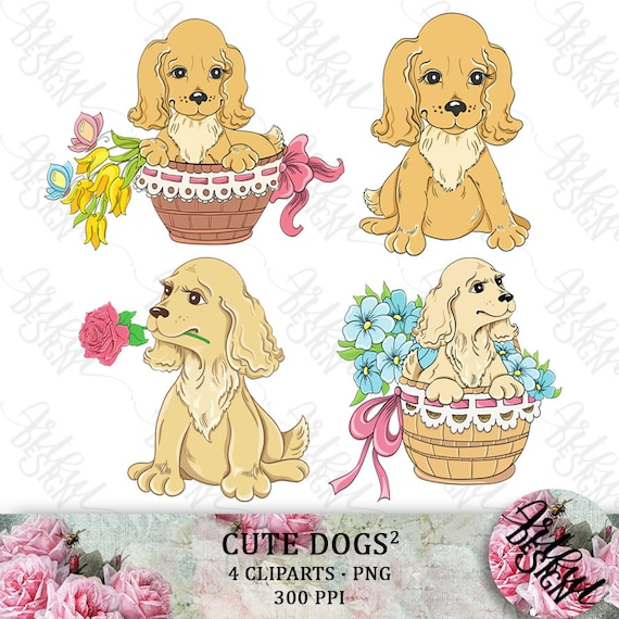 Dog Clipart Puppy Clipart Cute Dog Clipart Dog Clip Art Etsy