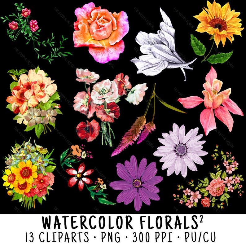 Clipart Floral Watercolor Floral Watercolor Clip Art Clipart Watercolor Watercolor Flower Floral Clipart Watercolor Clipart