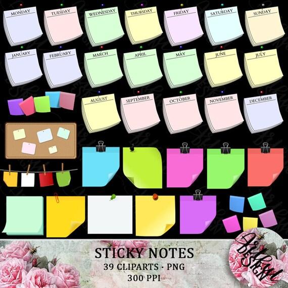 Sticky Notes Clipart Sticky Note Clip Art Clipart Sticky Etsy