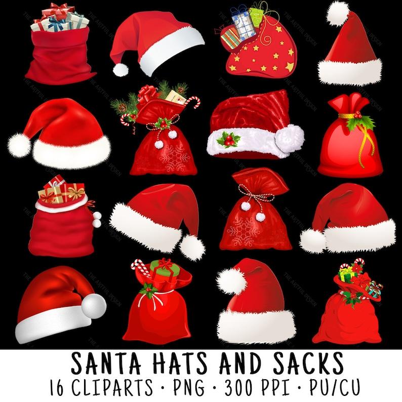 c85ec97e9b7c1 Santa Hat Clipart Santa Sack Clipart Christmas Clipart