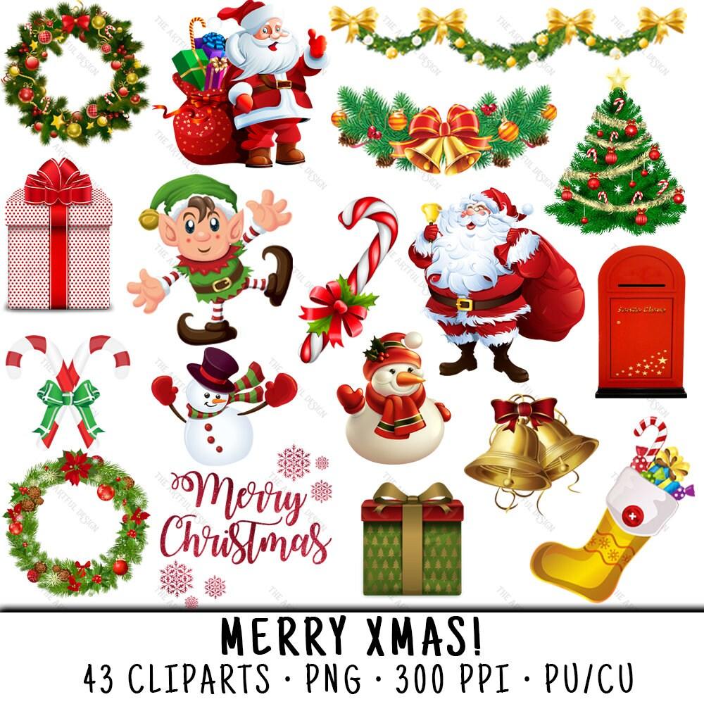 Weihnachtscliparts Santa Claus Clipart ClipArt Weihnachten   Etsy