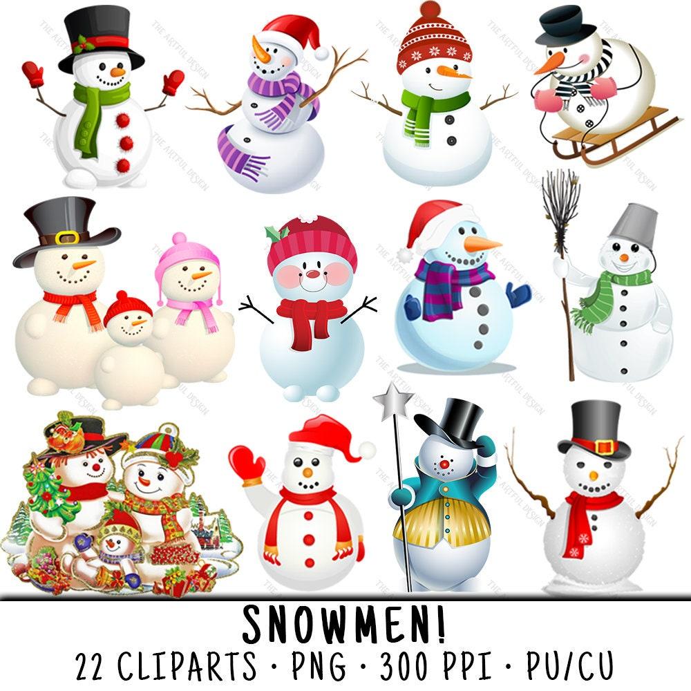 Schneemann Cliparts Winter Clipart Schneemann-Clip-Art | Etsy