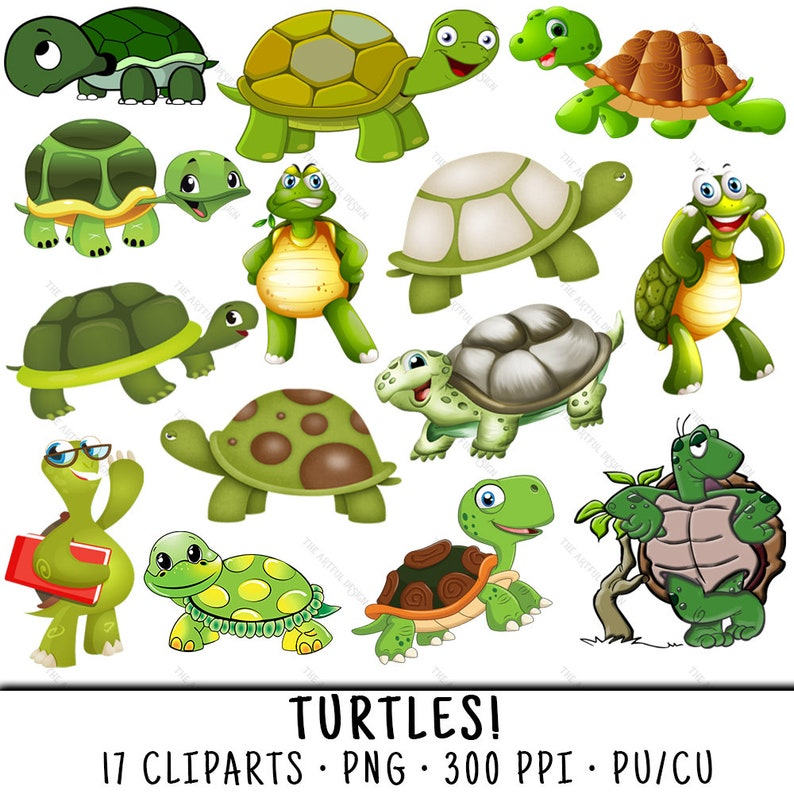 Turtle Clipart Cute Turtle Clipart Turtle Clip Art Cute Etsy