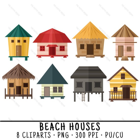 Beach House Clipart House Clipart Beach House Clip Art | Etsy