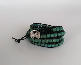 """Genuine Turquoise 4x Wrap Bracelet  Fits 5"""" to 5 1/2"""" wrist"""