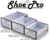 ShoePro MEDIUM - Stackable Shoe box front drop lids