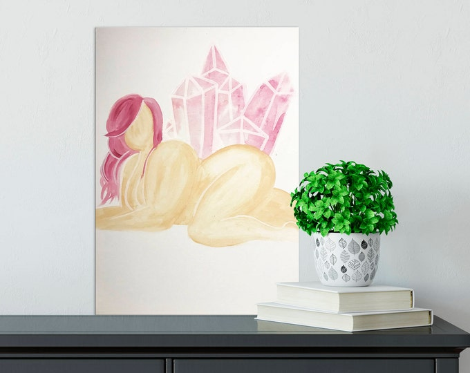 "Featured listing image: Rose Quartz Beauty. 16""x 20"" Acrylic Painting on Canvas"