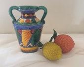 Vintage Mid Century Modern Incised Italian Vase Hand Painted Floral Italian Pottery Urn Amphora Vase Made In Italy Majolica