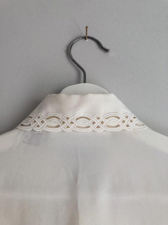Vintage Ivory Button Up Blouse Detailed Neckline … - image 9