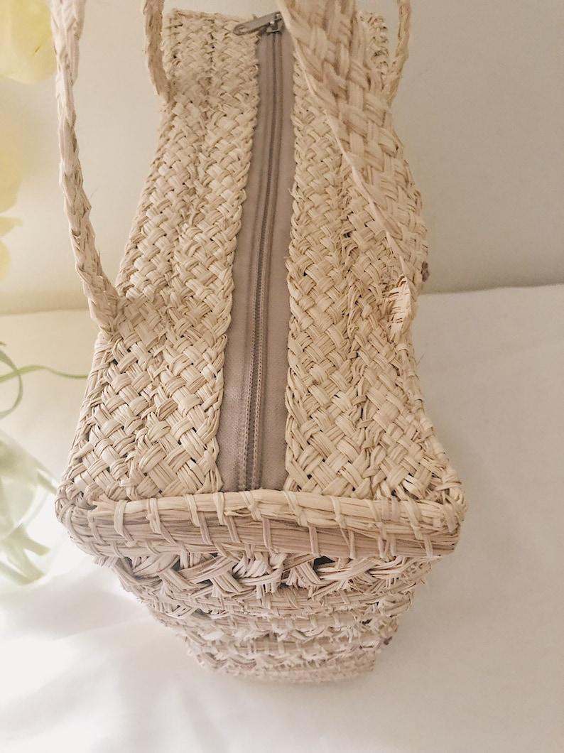 Vintage Woven Straw Handbag  Woven Straw Bag  Boho Woven Purse  Vintage Woven Purse  Braided Handles