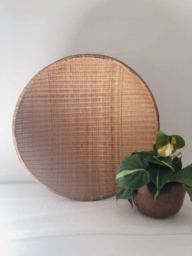Vintage Extra Large Hanging Wall Basket Vintage Handmade Winnowing Woven Basket Wall Hanging Basket Decor Boho Bamboo Decor