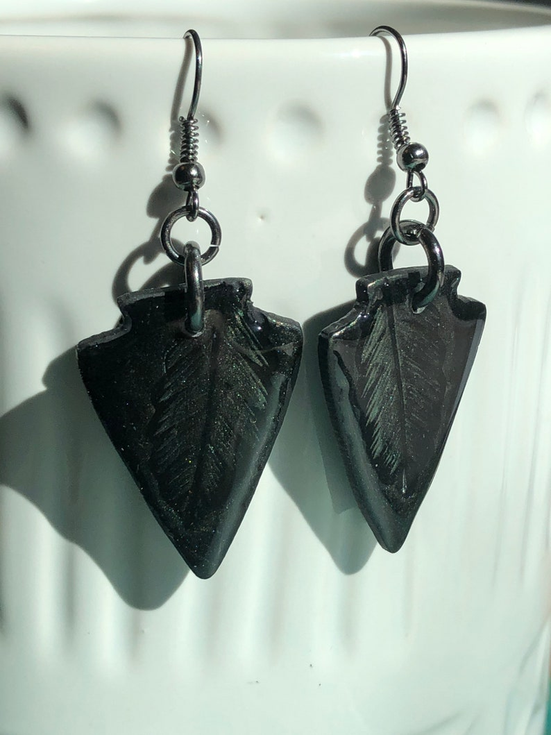 Black Arrowhead with Green Feather pattern Polymer Clay and UV Resin with Black Gun Metal French ear wires